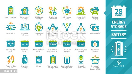 Energy storage color icon set with distributed generation, solar panel system, off the grid, EV home charging, demand management, rechargeable battery and hydraulic accumulator glyph pictograms.
