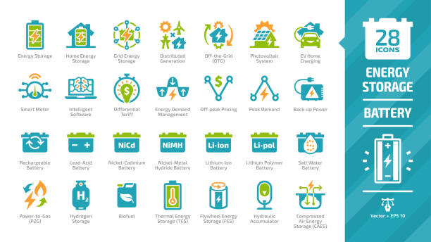 Energy storage color icon set with distributed generation, solar panel system, off the grid, EV home charging, demand management, rechargeable battery and hydraulic accumulator glyph pictograms. Energy storage color icon set with distributed generation, solar panel system, off the grid, EV home charging, demand management, rechargeable battery and hydraulic accumulator glyph pictograms. lithium stock illustrations