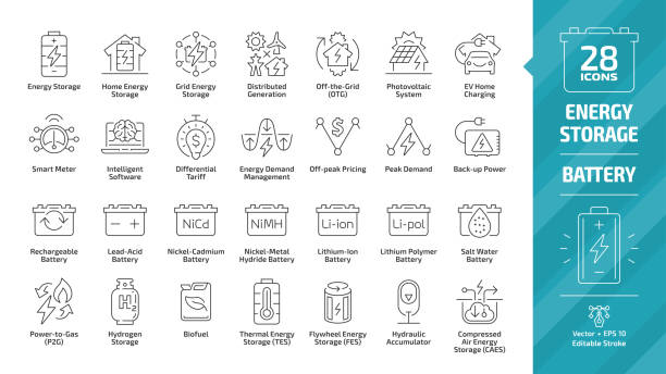 Energy storage outline icon set with distributed generation grid, electric vehicles home charging, demand management, lead acid, nickel and lithium ion battery and more editable stroke line symbols. Energy storage outline icon set with distributed generation grid, electric vehicles home charging, demand management, lead acid, nickel and lithium ion battery and more editable stroke line symbols. lithium stock illustrations