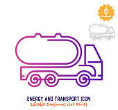 Energy and transport vector icon illustration for logo, emblem or symbol use. Part of continuous one line minimalistic drawing series. Design elements with editable gradient stroke.