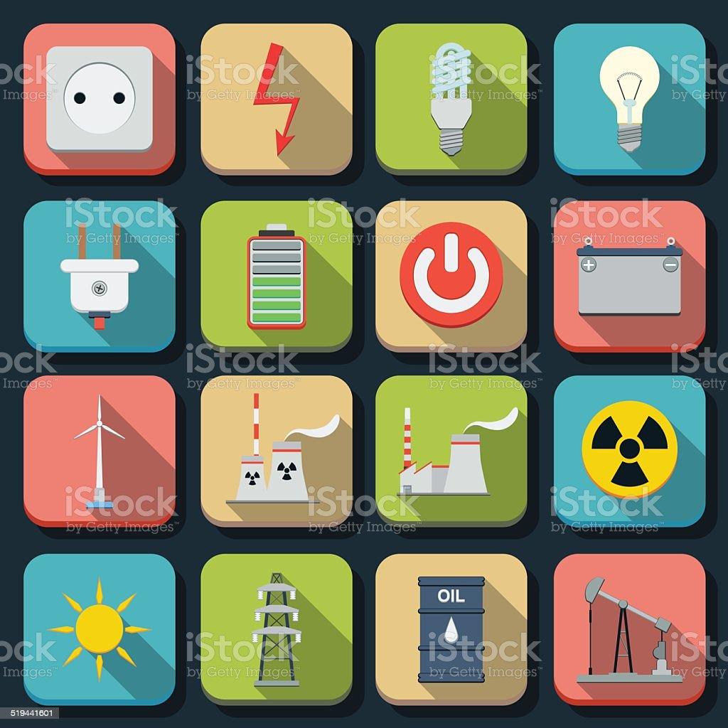 Energy vector icons vector art illustration