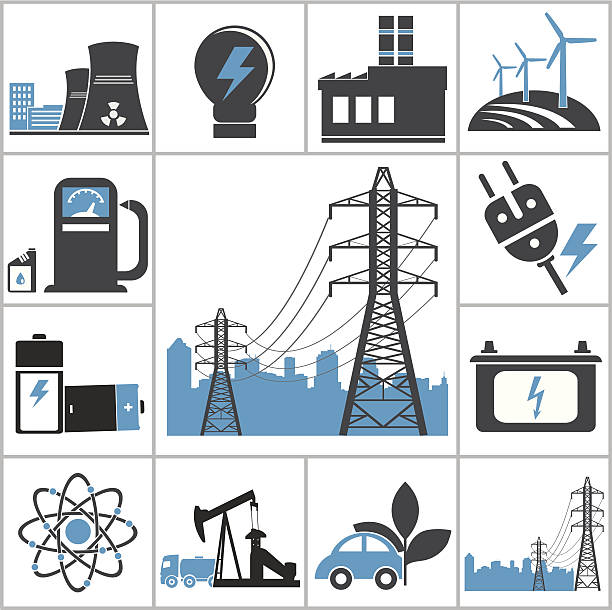 Energy Energy icons. Vector set for you design power station stock illustrations