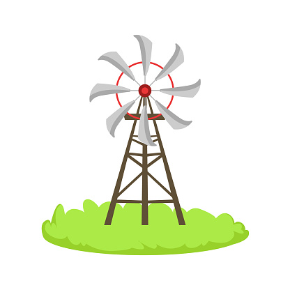Energy Windmill Structure Cartoon Farm Related Element On Patch Of Green Grass