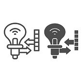 Energy-efficient electronic bulb and indicators line and solid icon, smart home symbol, electricity vector sign on white background, light bulb and measuring icon in outline style. Vector graphics