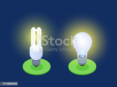 istock Energy-saving and LED lamps isometric vector illustration 1313685355