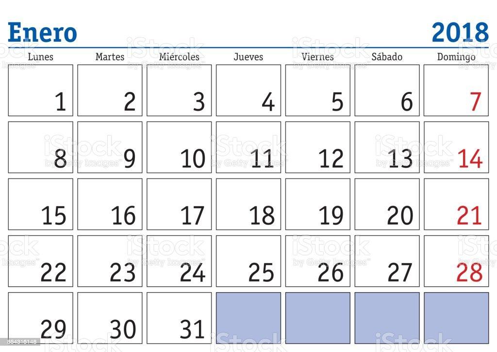Ilustración De Calendario De Pared De Enero 2018 Español