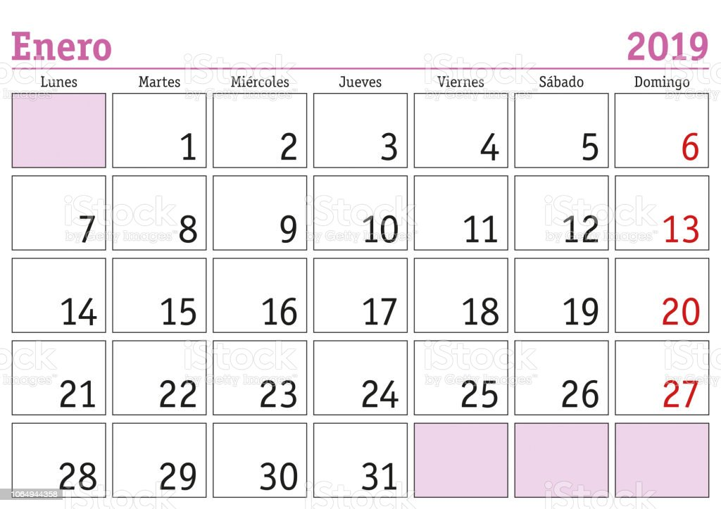 Enero 2019 Wand Kalender Spanisch Stock Vektor Art Und Mehr Bilder