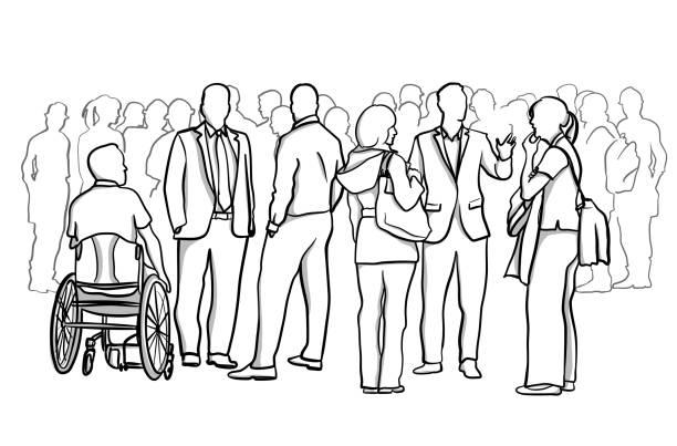 Engaged Individuals vector art illustration
