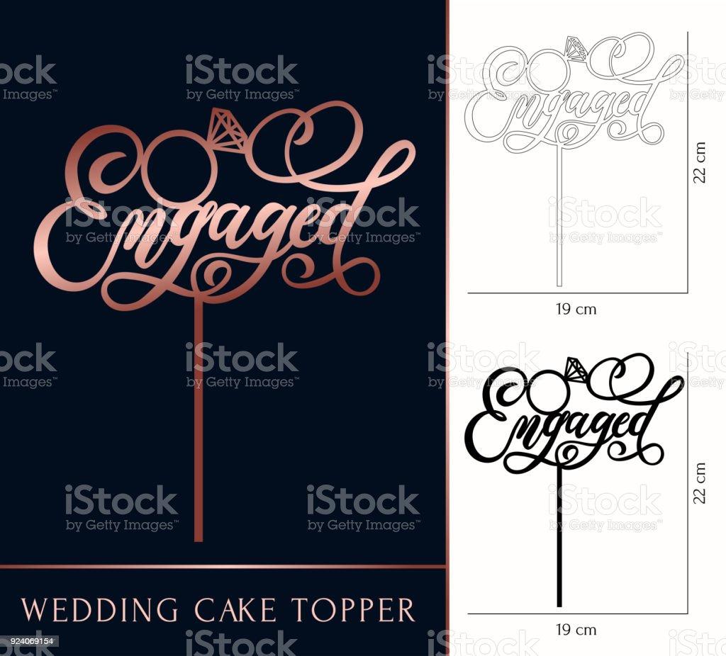 Bolo de casamento noivos cartola para laser ou corte de trituração. Celebração de casamento ou aniversário rosa letras de ouro. - ilustração de arte em vetor