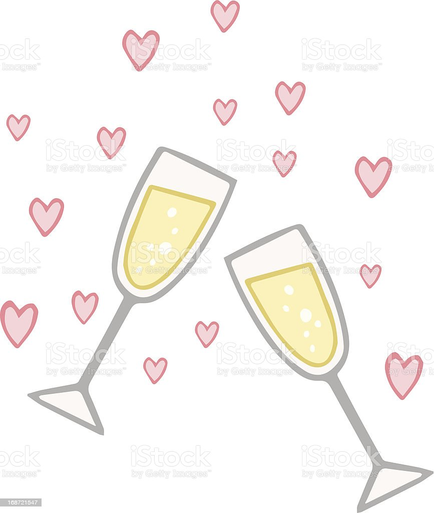 Engagement Champagne Love Toast royalty-free stock vector art