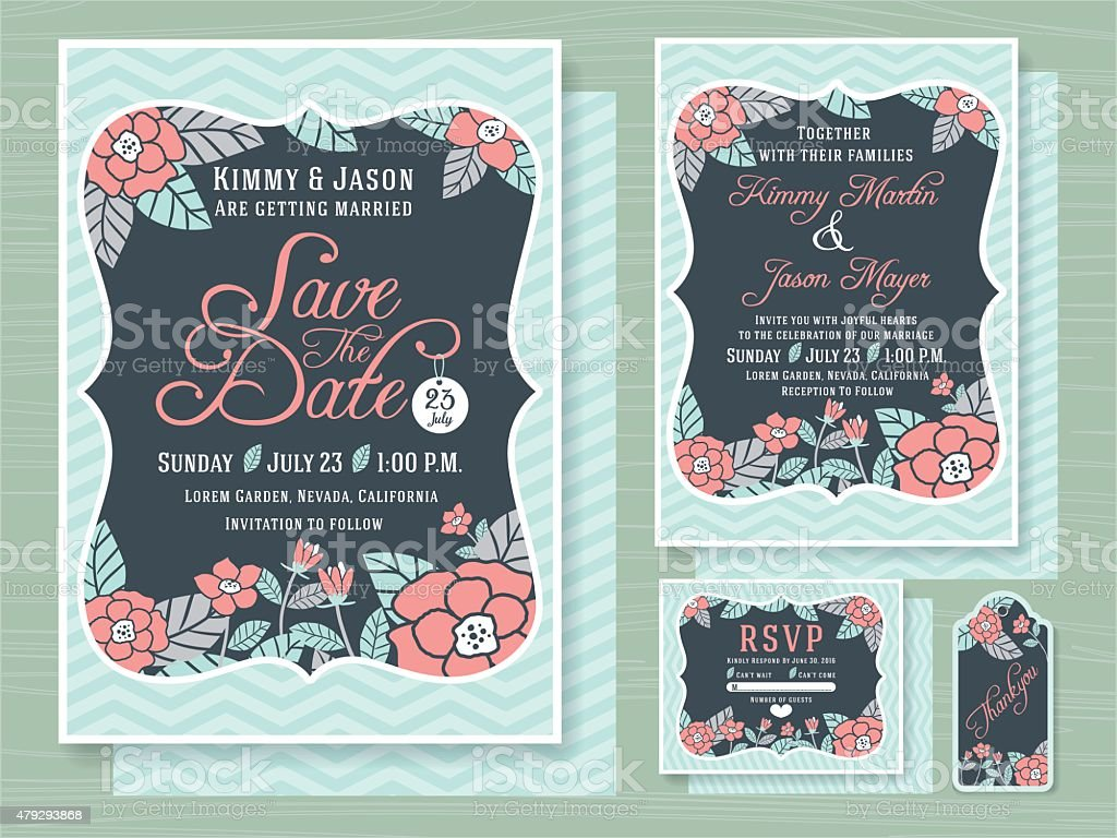Engagement Invitation Template With Topical Flower Design Stock ...