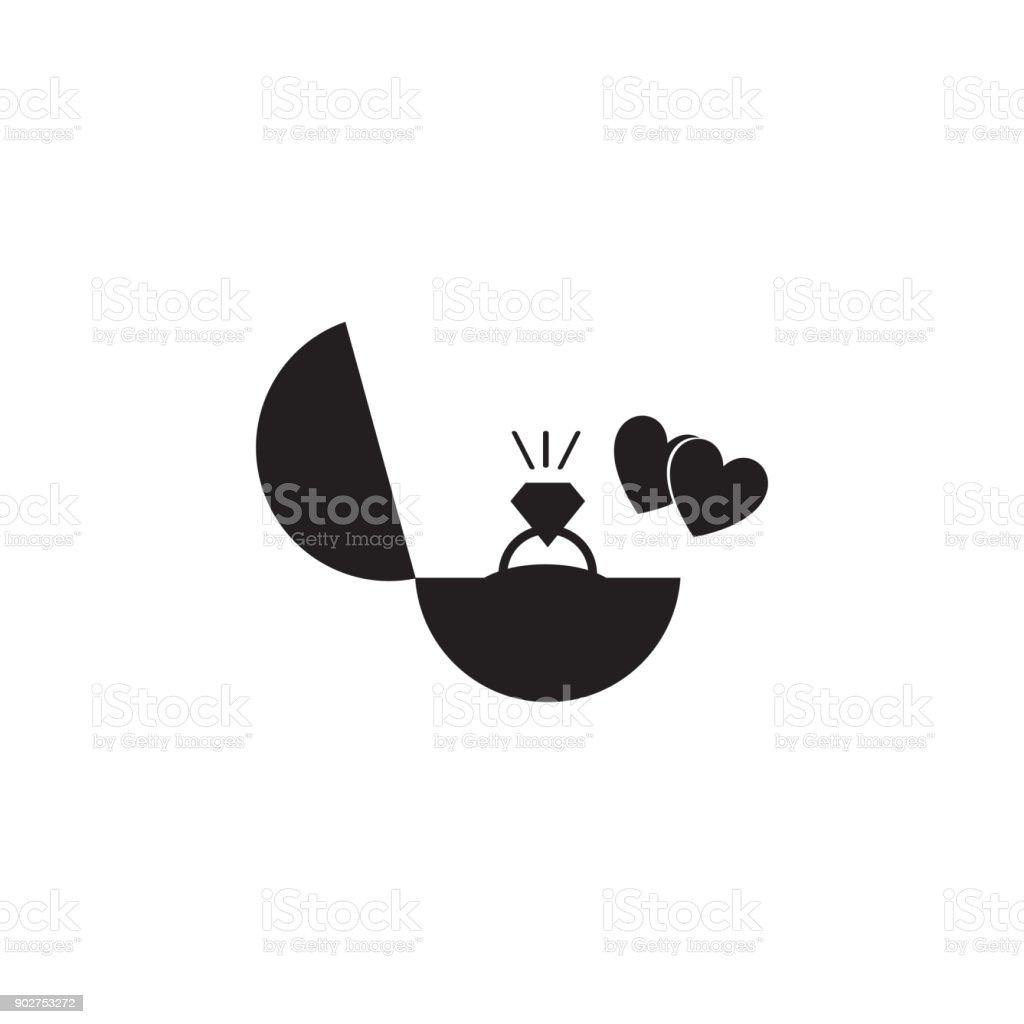 Verlobungsring Und Herz Symbol. Valentinstag Elemente.  Premium Qualität Grafik Design