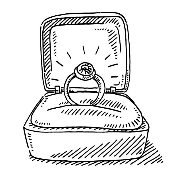 Engagement Ring In Open Box Drawing Hand-drawn vector drawing of an Engagement Ring in an Open Box. Black-and-White sketch on a transparent background (.eps-file). Included files are EPS (v10) and Hi-Res JPG. celebration stock illustrations