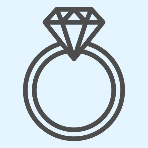婚約指輪の線のアイコン。ダイヤモンドとロマンチックな提案ジュエリーアイテム。結婚式の資産ベクトルのデザインコンセプト、白い背景にアウトラインスタイルのピクトグラム、ウェブ� - 妻点のイラスト素材/クリップアート素材/マンガ素材/アイコン素材