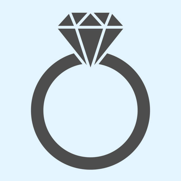 Engagement ring solid icon. Romantic proposal jewelry item with diamond. Wedding asset vector design concept, glyph style pictogram on white background, use for web and app. Eps 10. Engagement ring solid icon. Romantic proposal jewelry item with diamond. Wedding asset vector design concept, glyph style pictogram on white background, use for web and app. Eps 10 anniversary symbols stock illustrations