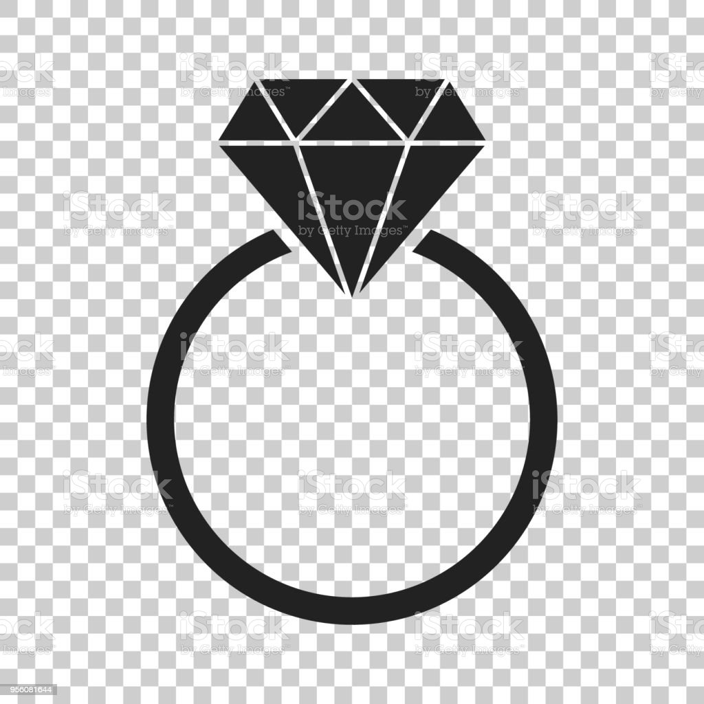 Engagement Ring With Diamond Vector Icon In Flat Style Wedding