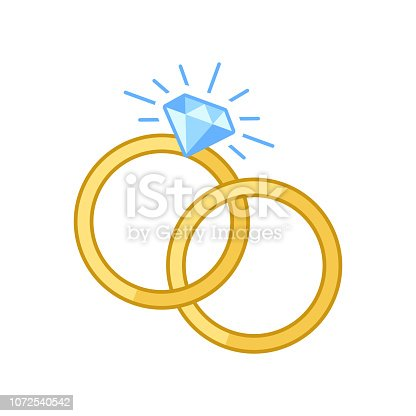 Vector illustration of two engagement rings one inside each other in flat style.