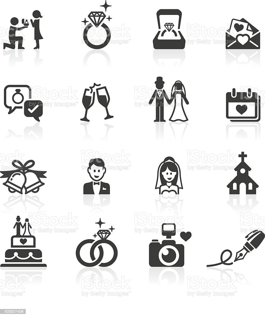 Engagement & Wedding Icons. vector art illustration