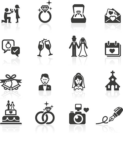 engagement & wedding icons. - marriage stock illustrations