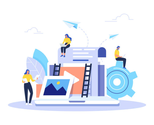 Engaging content, blogging, media planning, promotion in social network flat vector concept. Engaging content, blogging, media planning, promotion in social network concept. Flat vector illustration. origins stock illustrations