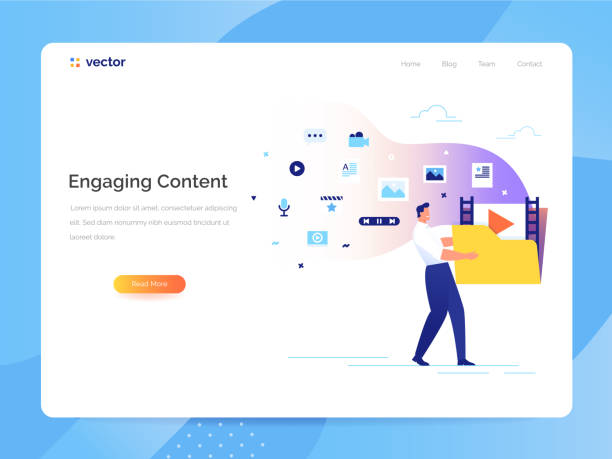 Engaging content concept. Man carries a large folder with media files. Communication with subscribers vector illustration. A man carries a large folder with media files. Engaging content concept. Communication with subscribers vector illustration. origins stock illustrations