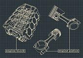 istock Engine block blueprints 1190147081