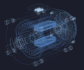 Wireframe of the motor. Internal parts of the engine. 3D Vector illustration.