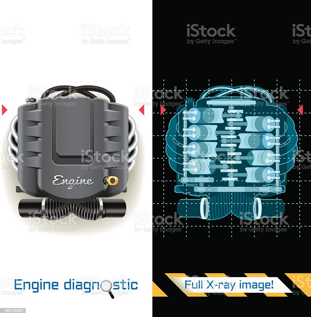 Engine Diagnostic Full X-ray vector art illustration
