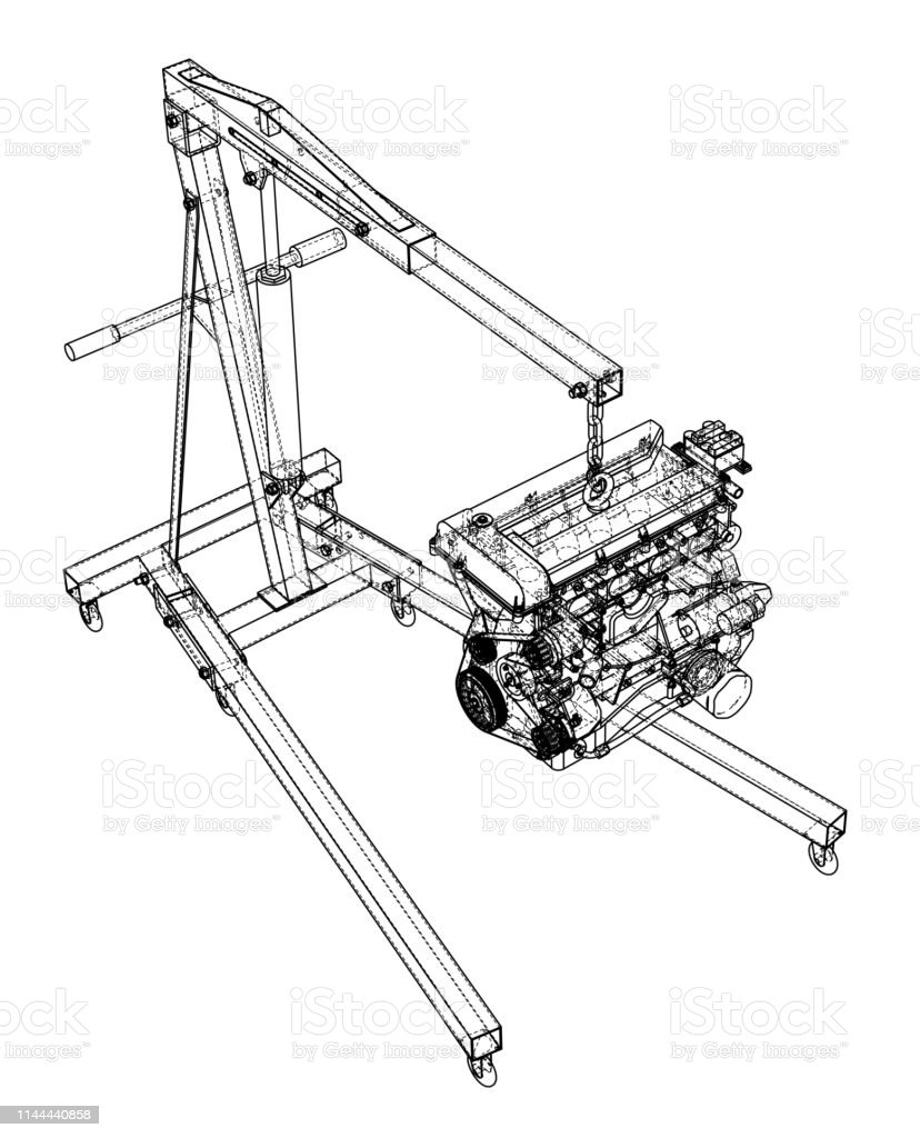 engine hoist with engine outline royalty-free engine hoist with engine  outline stock vector art