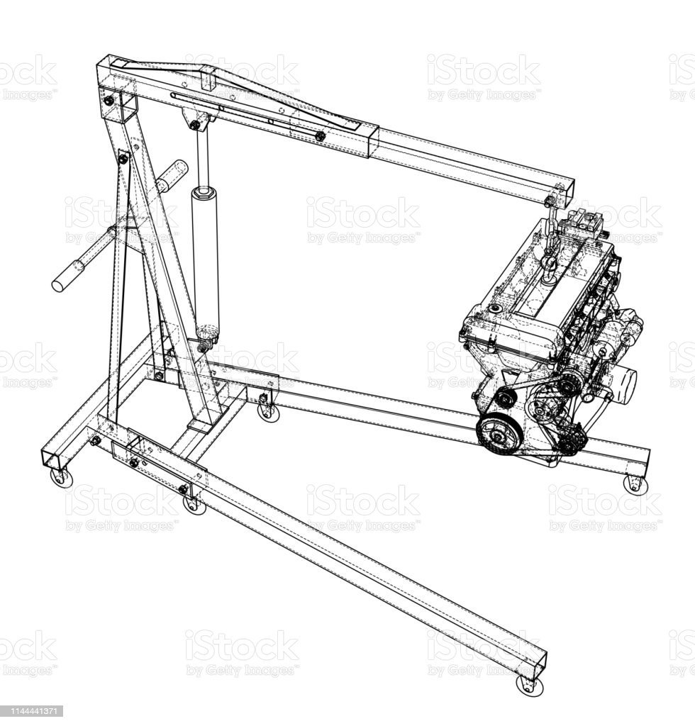 Engine Hoist With Engine Outline Stock Illustration - Download Image Now -  iStockiStock