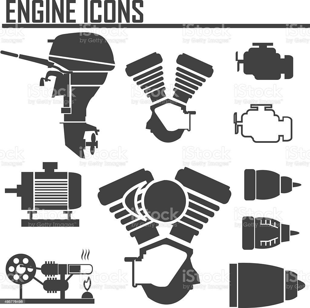 engine icons set vector illustration. vector art illustration