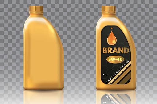 Engine oil plastic bottle package mockup set