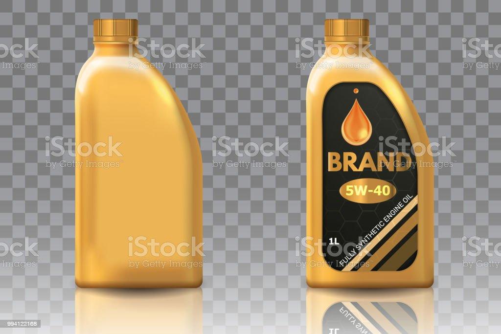 Motor aceite botella de plástico paquete maqueta conjunto - ilustración de arte vectorial