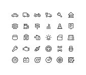 Set of engine and road line vector icons.