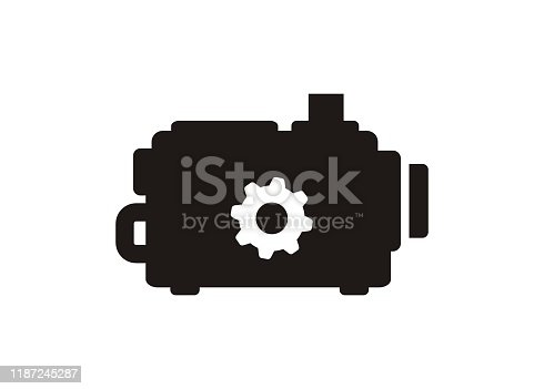 Simple icon illustrating an engine in black and white