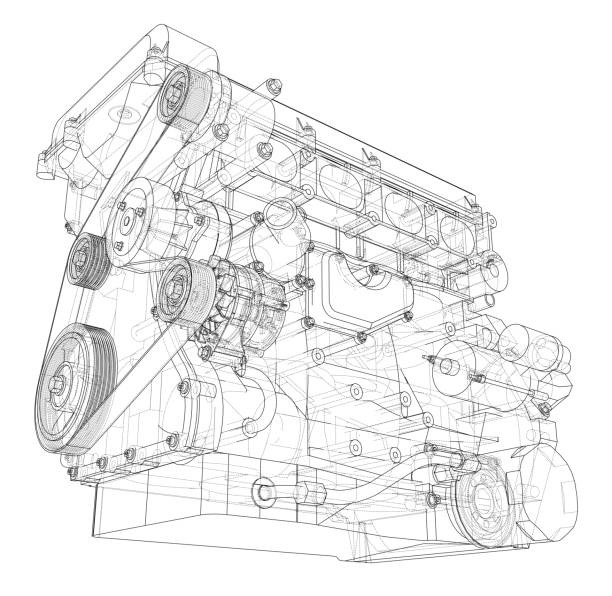 Engine sketch. Vector rendering of 3d Engine sketch. Vector rendering of 3d. Wire-frame style. The layers of visible and invisible lines are separated machine part stock illustrations