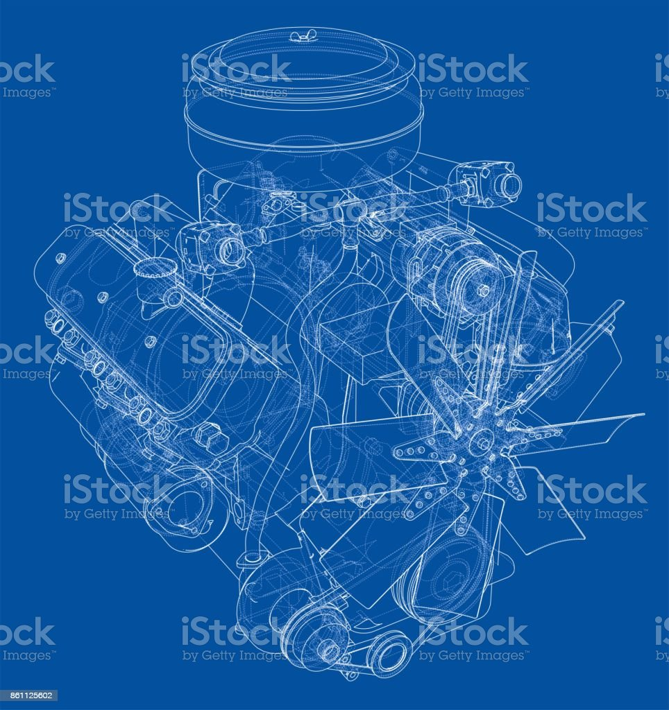 Engine Sketch Vector Stock Art More Images Of Abstract Blueprint Diagram Gear Machine Part Plan Document