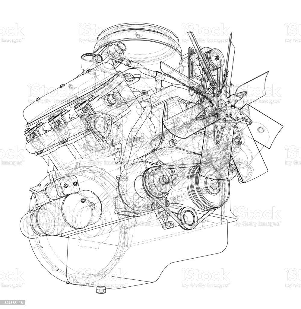 Motorskizze Vektor Stock Vektor Art und mehr Bilder von Abstrakt ...