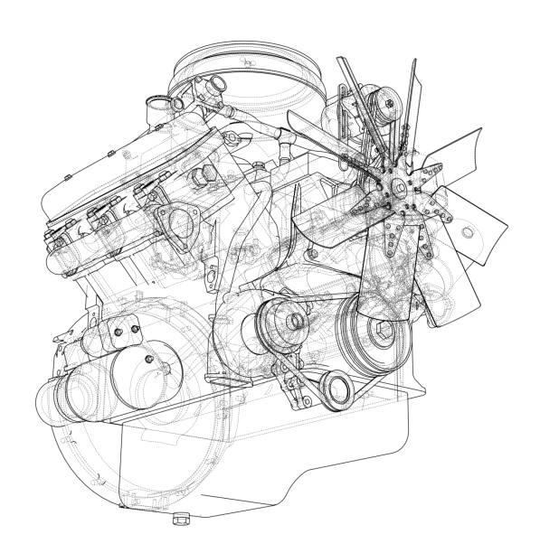 Esquema de motor. Vector de - ilustración de arte vectorial