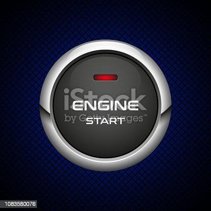 Vector illustration of car engine start button