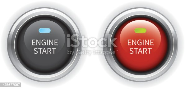 Set of black and red engine start buttons with illuminate light and chrome ring