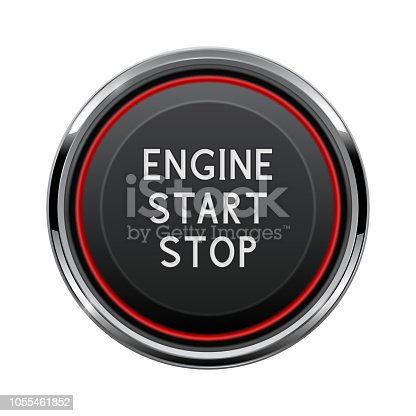 Engine start stop button. Car dashboard element. Vector 3d illustration isolated on white background