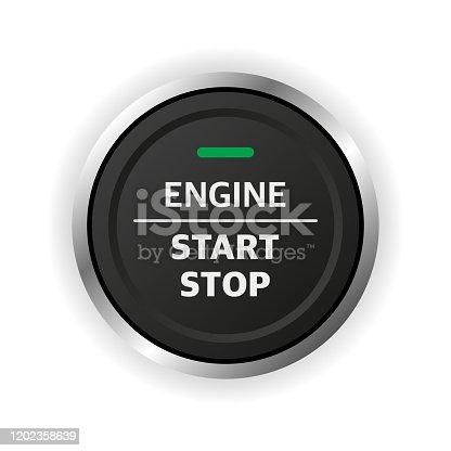 Engine start stop button. Car dashboard element
