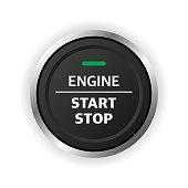 istock Engine start stop button. Car dashboard element. 1202358639