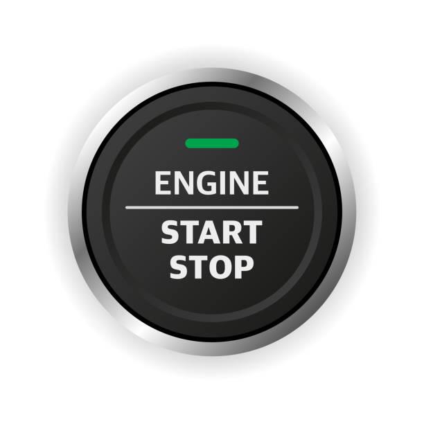 przycisk zatrzymania rozruchu silnika. element deski rozdzielczej samochodu. - start stock illustrations