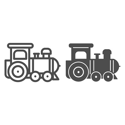 Engine toy line and solid icon, Kids toys concept, little train sign on white background, Locomotive toy icon in outline style for mobile concept and web design. Vector graphics.