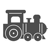 Engine toy solid icon, Kids toys concept, little train sign on white background, Locomotive toy icon in glyph style for mobile concept and web design. Vector graphics