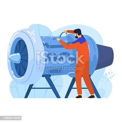 istock Engineer aircraft engine builder, male character engineering work modern airplane technology isolated on white, flat vector illustration. 1263074043