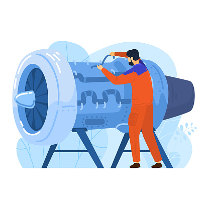 Engineer aircraft engine builder, male character engineering work modern airplane technology isolated on white, flat vector illustration.