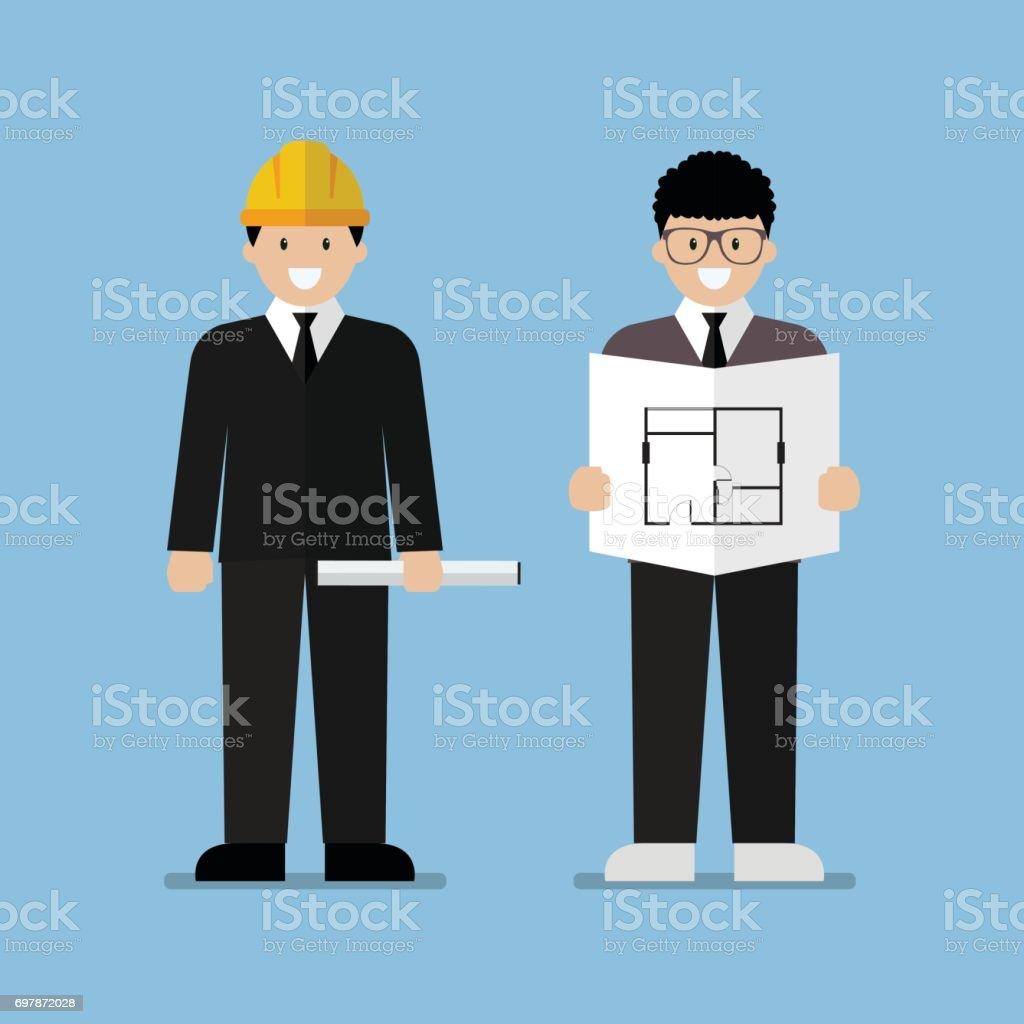 エンジニアおよび建築家のフラット漫画 ベクターアートイラスト